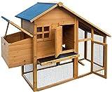 dobar 24001FSC Doppelstöckiger Hühnerstall mit Freigehege auf 2 Etagen, fuchssicher mit verstärktem Zinkdraht, FSC-Holz, Zinkwanne, Doppelboden, Plexiglas-Fenster, 173 x 66 x 120 cm