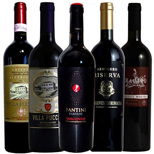 vinexio-ヴィネクシオ- 厳選イタリア赤ワイン イタリア名家飲み比べ ソムリエ厳選ワインセット 赤ワイン 750ml 5本