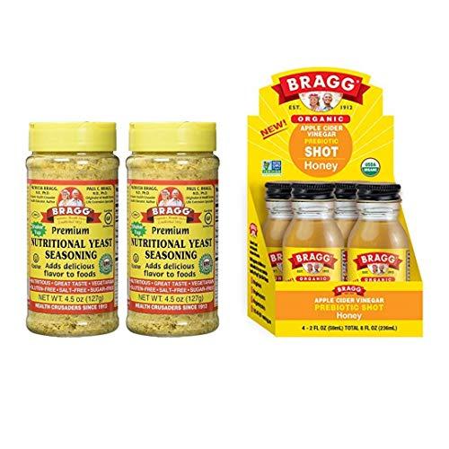 Bragg Nutritional Yeast Seasoning 4.5 Oz Pack of 2 and Bragg Organic Apple Cider Vinegar Shot with Honey 2 Oz ACV Shot Pack of 4 Bundle