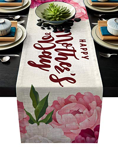 Edwiinsa Mother's Day Cotton Linen Table Runner Geometric Rectangle Plate Mat Dresser Scarves, Carnation Flowers with Best Wishes Outdoor Rug Runner for Coffee Dining Banquet Home Decor 13 x 70 inch