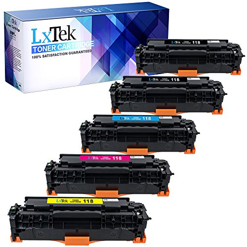 LxTeK Compatible Toner Cartridge Replacement Set for Canon 118 (2 Black|1 Cyan|1 Magenta|1 Yellow) 5 Pack 2662B004AA 2661B001AA 2660B001AA 2659B001AA for Use with MF8580CDW LBP7660CDN MF8350