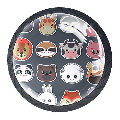 HEOH Tirador de manijas de cajón para el hogar, Cocina, tocador, Armario,Icono Grande de Caras de Animales