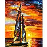 LKAZLL Set de pintura al óleo de 4050 cm de Still Life Smooth Sailing Boat por número, set de regalo para colorear por lienzo