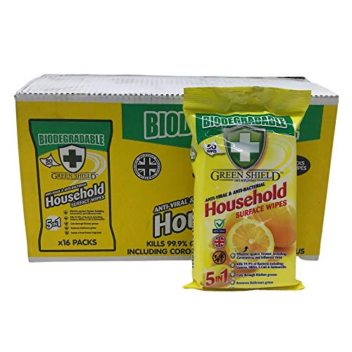 Green Shield Biodegradable AntiViral and Antibacterial Cleaning Wipes 16x 50 Packs for Household Surface Cleaning: 800 Multipurpose Wipes with lemon Fragrance in a Retail Display and Dispenser Box