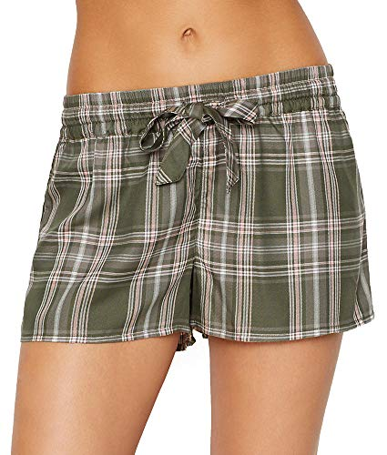PJ Salvage Women's MAD for Plaid Shorts, Olive, S