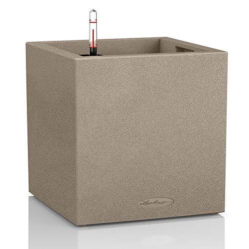 Lechuza CANTO Stone low 30, sandbeige, Hochwertiger Kunststoff, Inkl. Bewässerungssystem, Herausnehmbarer Pflanzeinsatz, für Innen- und Außenbereich, 13701