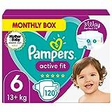 Pampers Pañales de bebé de ajuste activo de tamaño 6, 120 unidades, ajuste cómodo de...