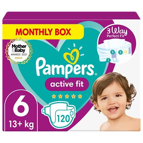 Pampers Pañales de bebé de ajuste activo de tamaño 6, 120 unidades, ajuste cómodo de 360 grados (15 kg)