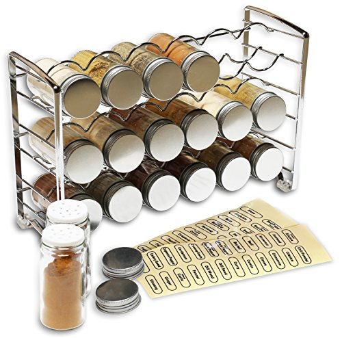 DecoBros Spice Rack Stand holder with 18 bottles and 48 Labels Chrome