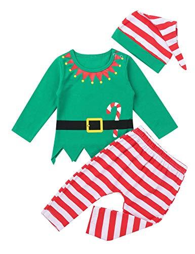 YiZYiF Disfraz Duende Elfo Bebé Pijamas Navideños Niños Niñas Conjunto de Navidad Algodón Suave 3Pcs Unisex Traje Navidad Infantil Camisa Pantalones Gorro Verde y Rojo 3-6 Meses