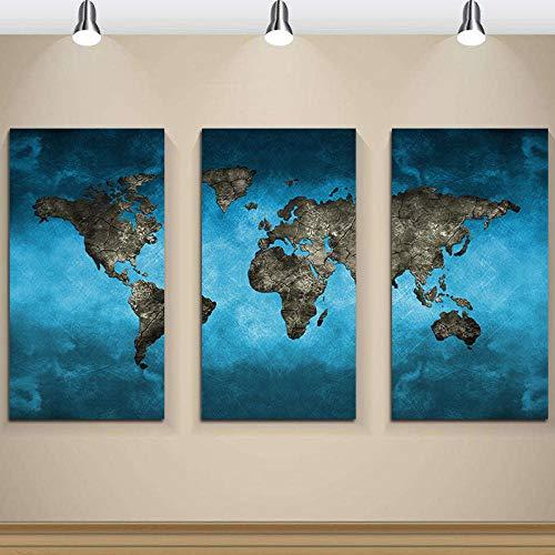 QianLei 3 Marine landkaart kunst canvas gedrukt muurkunst schilderij geschikt voor decoratie en moderne decoratie fotodruk 40 cm x 60 cm x 3p_No_Frame