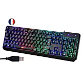 ⭐️KLIM™ Chroma Clavier Gamer AZERTY FR + Durable, Ergonomique, Discret, Waterproof, Touches Silencieuses, USB + Clavier Filaire Rétroéclairé Led pour PC Gaming PS4 Mac + Nouvelle Version 2020 + Noir