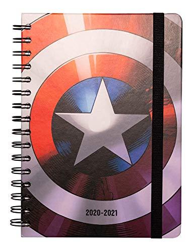 Erik Planer - Schulplaner Marvel Schild - Kalender Wochenansicht 2020/2021 für Schüler 12 Monate