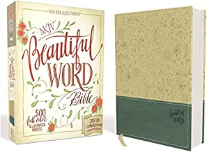 NKJV, Beautiful Word Bible, Leathersoft, Tan/Blue, Red Letter Edition: 500 Full-Color Illustrated Verses