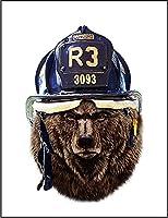 【グリズリーベア クマ 熊 消防士】 余白部分にオリジナルメッセージお入れします!ポストカード・はがき(白背景)