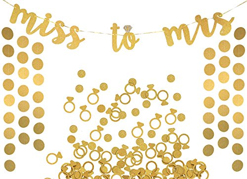 Miss to Mrs Banner, Garland & Confetti Set - Bachelorette, Engagement or Wedding Party Decorations - Sparkly Rose Gold Banner, Circle Garland & Super Fun Diamond Ring & Circle Confetti (Gold)