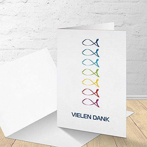 5 Danksagungskarten mit passenden Umschlägen, Danksagungskarten Kommunion Konfirmation Firmung, Klappkarten im Set zu 5 Stk.
