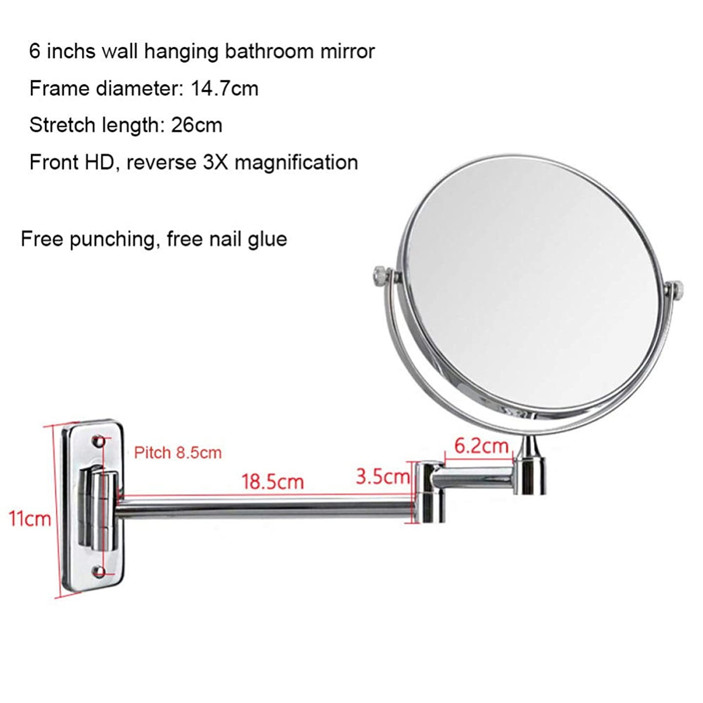 器用哺乳類美的化粧鏡浴室壁掛け鏡両面1X / 3X拡大鏡360°回転は伸縮式折りたたみ鏡,Punchfree6inchsilver