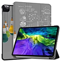 """MAITTAO Smart Cover for iPad Pro 11-inch Case 2020 2nd Gen, Leather Folio Stand Protective Shell with Auto Sleep/Wake Compatible with Apple iPad 11"""" 2020 A2228 / A2231,Creative Bulb 8"""
