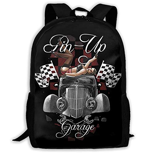 """Rock Style Pin Up For Garage American Muscle Car Printed School Backpack Water Resistant Travel Rucksack Bag Laptop Lightweight Backpack Daypack,17"""" Mochila Escolar"""