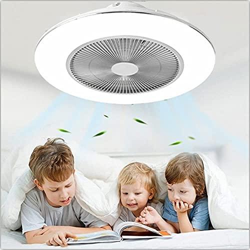 Ventilador De Techo Con Luces, Control Remoto 48W LED De Atenuación De 3 Colores LED Ultrafino Cerrado Luz De Ventilador De 3 Velocidades Invisible Acrílico 3 Cuchillas Perfil De Bajo Perfil Montaje P