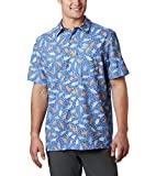 Columbia Men's Super Slack Tide Camp Shirt, Vivid Blue Tribal Fish Print, Large