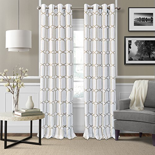 "Elrene Home Fashions Kaiden Geometric Room Darkening Grommet Linen Window Curtain Drape Panel, 52"" W x 95"" L (1, Taupe"