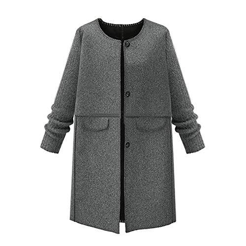 Geili Damen Wolle Mantel Strickjacke Wintermantel Lange Elegante Tweed Mantel Frauen Übergrößen Warme Winter Jacken Knöpfen Parka Jacke Wolljacke Übergangsjacke XL-5XL