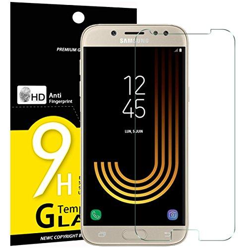 NEW'C [3 Stück] PanzerglasFolie Schutzfolie für Samsung Galaxy J5 2017, Frei von Kratzern Fingabdrücken und Öl, 9H Härte, HD Displayschutzfolie, 0.33mm Ultra-klar, Displayschutzfolie Samsung J5 2017