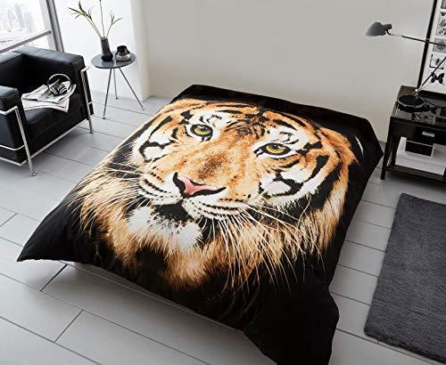 CT 3D Animal Designs Luxuriöse super weiche warme & gemütliche Überwurf, Kunstfell-Fleece, Sofa- & Bettdecken, GC, Tiger Face Brown, Double [150x200cms]