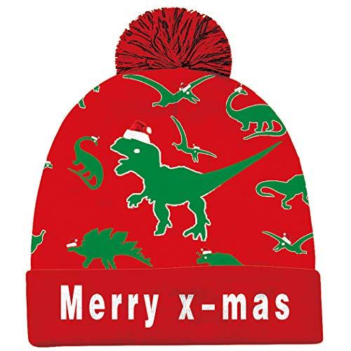 Goodstoworld LED Leuchten Weihnachtsmütze mütze mit led für Männer Frauen Jungen Mädchen 6 Bunten LED Strickmütze Beanie Mütze Wintermütze Christmas Santa Hat for Party