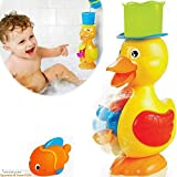 FUNERICA Large Yellow Duck Bath Toy for Toddler and Baby - Super Interactive Bathtub Water Fun! Bonus: Floating Fish