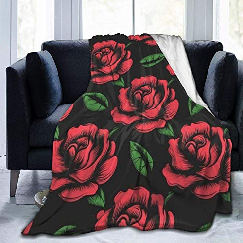 Li Da Sen Best Flannel Fleece Throw, 60 x 50 Inch, Beautiful Elegant Floral with Small Red Roses Flower Pattern Throw Blanket for All Seasons Chair, Super Soft and Quality Washable
