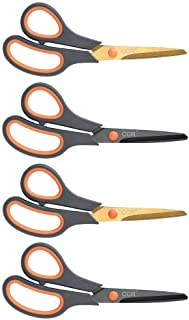 CCR Scissors 8 Inch Soft Comfort-Grip Handles Sharp Titanium Blades, 4-Pack