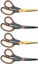 CCR Scissors 8 Inch Soft Comfort-Grip Handles Sharp Titanium Blades, 4-Pack