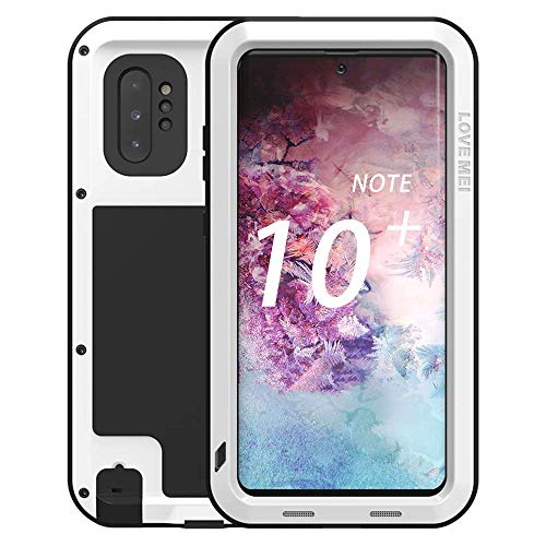 Galaxy Note 10 Plus Case,Bpowe Super Shockproof Silicone Aluminum Metal Armor Tank Heavy Duty Sturdy Protector Cover Hard Case for Samsung Galaxy Note 10 Plus/Galaxy Note 10+ 5G 6.8' 2019 (White)