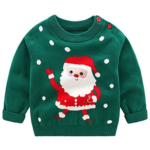 AIWUHE Baby Weihnachtspullis Unisex Weihnachtsmann Muster Strickpullover Langarm gestrickt Pullover Rundhals Sweater für Mädchen Jungen Grün 110
