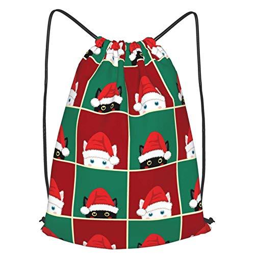 Quintion Cooper Mochila de ajedrez de gato blanco negro con cordón de Navidad, paquete de correa para deporte, gimnasio, mochila de escuela, senderismo, yoga, viajes, playa, para hombres y mujeres