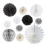 SUNBEAUTY 北欧風 ペーパーファン ペーパーフラワー ハニカムボールの組み合わせ バースデーパーティー 結婚式 お部屋の飾りつけ 11点セット (ブラック)