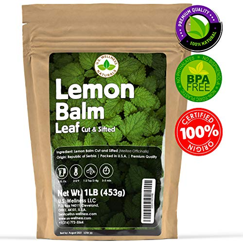 Lemon Balm Tea (Bulk Herbal Tea): Bulk Lemon Balm Leaf (Melissa Officinalis Caffeine Free) - Herbal Balm, Bulk Balm Leaf (Cut and Sifted), 1lb (16Oz) U.S. Wellness Bulk Tea