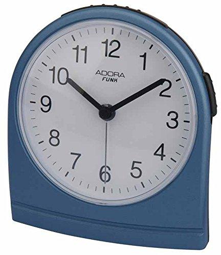 Adora Funkwecker Quarzwecker analog Alarm Snooze-Funktion Beleuchtung 29503, Farbe:blau
