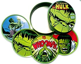 THE INCREDIBLE HULK MAEVEL - SET OF FOUR DRINK COASTERS (MUG MATS) IN CUSTOM LIMITED EDITION TIN