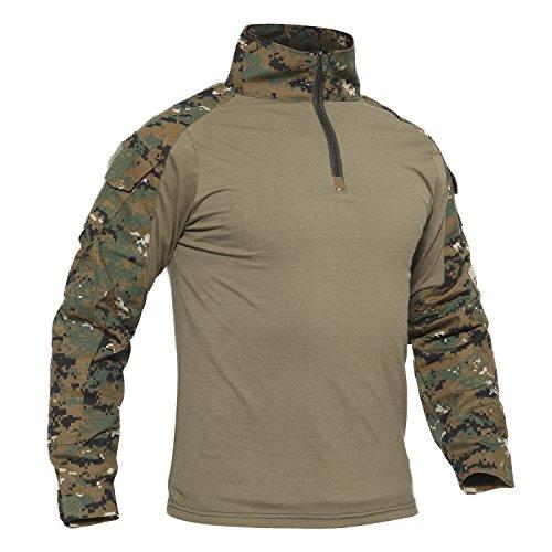 TACVASEN Klettern Shirt Herren Baumwoll Camo Hemd Climbing Kampf Paintball T Shirt Long Sleeve Tshirt Camouflage Digital Camo M