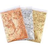 AIEX 9g 3 Confezioni di Scaglie di Doratura a Foglia d'oro Scaglie di Lamina Metallica Imitazione Oro per Arte delle Unghie Artigianato Arte della Resina (Oro, Argento e Color Ramato)