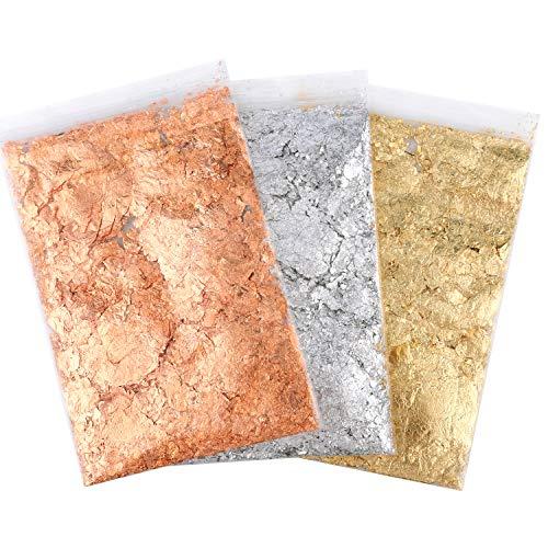 AIEX 9g 3 Paquetes De Copos Dorados De Pan De Oro Copos De Lámina Metálica Dorada De Imitación Para Arte De Uñas, Manualidades, Arte De Resina