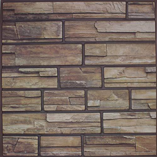 10 x paneles de pared autoadhesivos 3D – Moderno revestimiento de pared en ladrillo/piedra – Montaje rápido y sencillo