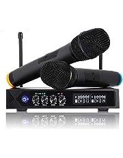 Micrófonos Inalámbrico Profesional Portátil, Receptor de Micrófono Dual con Pantalla LCD para Fiesta de Karaoke, KTV, Lugares de Entretenimiento, Boda y Reunión -un par