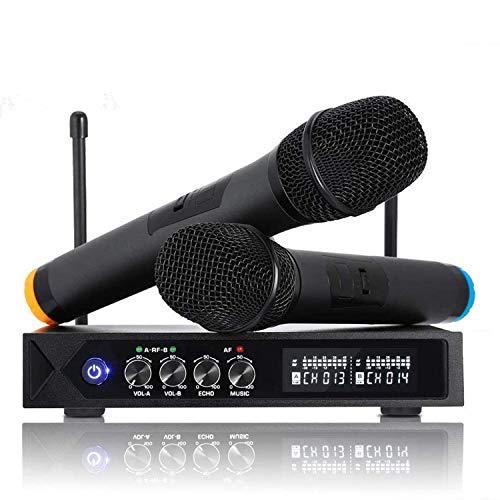 ROXTAK Microfono Senza Fili Bluetooth, Microfono Professionale con 2 Microfoni UHF per Karaoke,Festa,Spettacolo, Bar, Riunione, DJ, Chiesa, Matrimonio(Bluetooth 4.1)