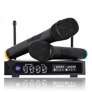 PREUP Karaoke Anlage Funkmikrofon S9-Profi, mit 2 Bluetooth karaoke mikrofon für Party Konferenz Sitzung Show Bar Studio