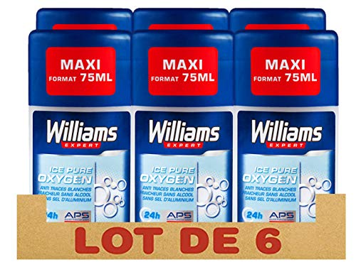Williams Expert Déodorant Homme Stick Antibactérien, Protection 24h Ice Pure Oxygen, Anti-Traces Blanches, Formule Testée Dermatologiquement, Sans Sels d'Aluminium (Lot de 6x75ml)